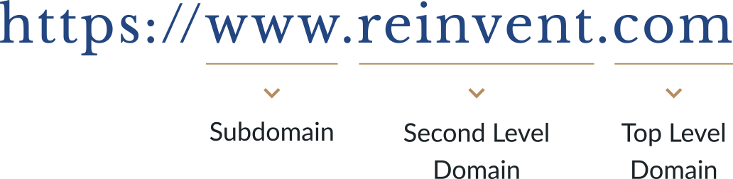 Example url: https://www.reinvent.com. WWW is the subdomain.         Reinvent is the secondary level domain. Dot com is the top level domain.
